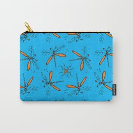 Orange Dragonflys On Tuquoise Background Carry-All Pouch