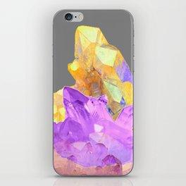 BOHO YELLOW & PURPLE QUARTZ CRYSTALS GREY ART iPhone Skin
