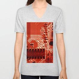 Red Motherboard Geek Decor Unisex V-Neck
