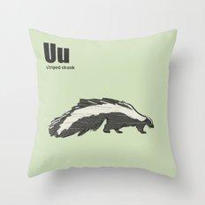 striped skunk Throw Pillow