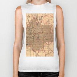 Vintage Map of Wichita Kansas (1943) Biker Tank