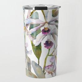 Cattleya Orchid White and Purple with Goldfish Muted Pallet Botanical Design Travel Mug