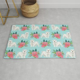 Maltese dog breed floral bouquet minimal pattern dog gifts pet friendly dogs Rug