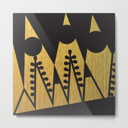 Black and gold shapes Metal Print
