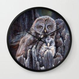 Wood  -  Owls Wall Clock