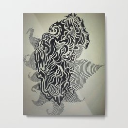 Ink Doodle Graphic Design Metal Print