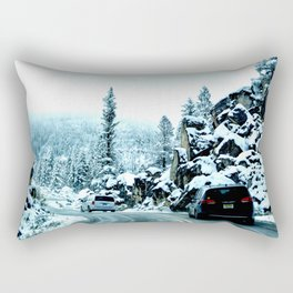 Scenic drive in snow Rectangular Pillow