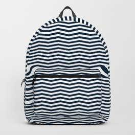 Midnight Blue and White Christmas Wavy Chevron Stripes Backpack