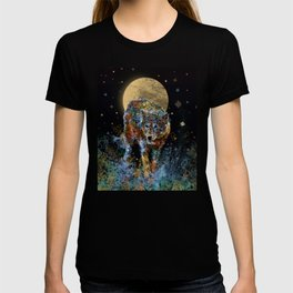 floral animals wolf and stars T-shirt