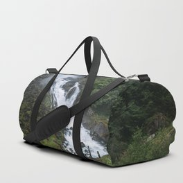 Painterly Waterfall in Norway with bridge in foreground -Landscape Photography Duffle Bag