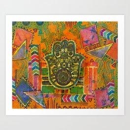 Boho & Batik Hamsa Art Print