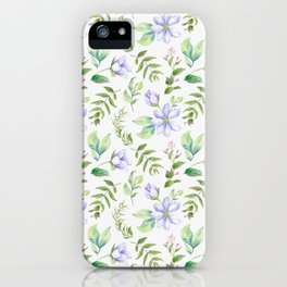 Watercolor lavender lilac green hand painted floral iPhone Case