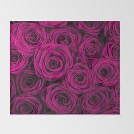 Magenta Roses Throw Blanket