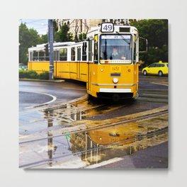 Yellow Budapest Tram Metal Print