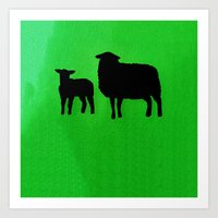 sheep Art Prints featuring Sheep by Brontosaurus