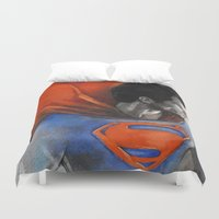 man of steel Duvet Covers featuring Man of Steel by Christine Chang