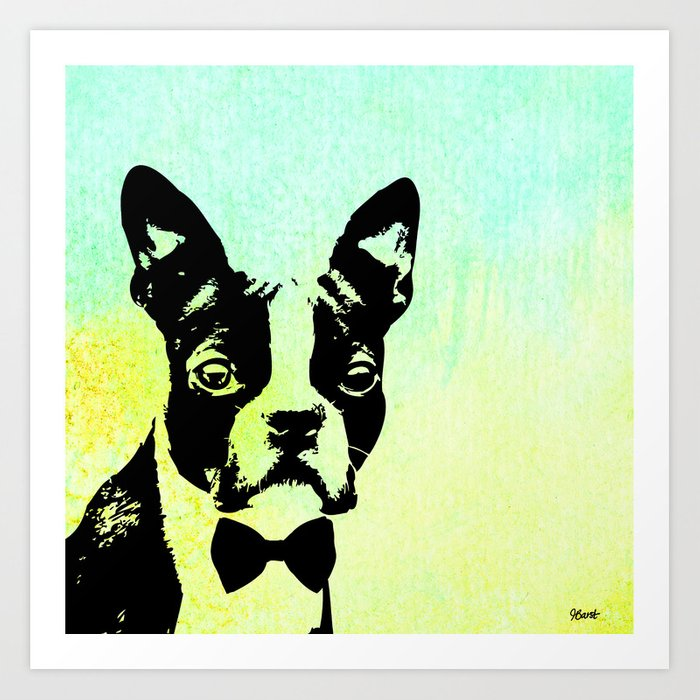 Boston terrier in a bow tie art print by jessicabarst society6 boston terrier in a bow tie art print voltagebd Choice Image