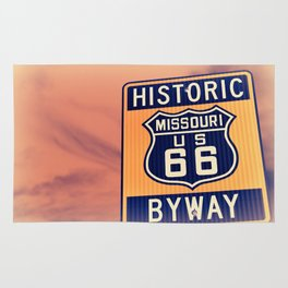 Historic route 66 highway sign in Missouri USA Rug