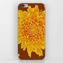 Coffee Brown Color Golden Yellow Chrysanthemums iPhone Skin