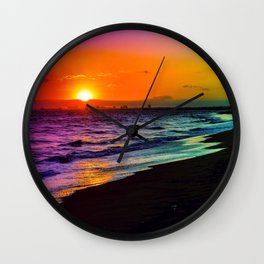 Rainbow Sunset Wall Clock