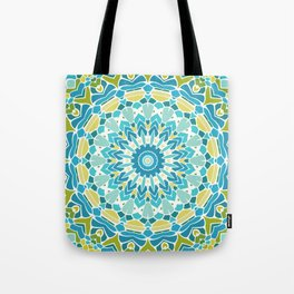 Lime Green and Turquoise Blue Mandala Tote Bag