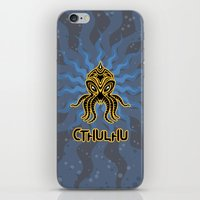 return iPhone & iPod Skins featuring Cthulhu return by Enrique Valles