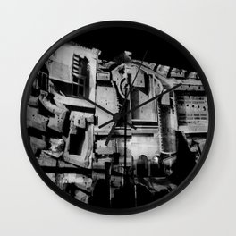 Antique Rome, black white columns, structure, city walls, abstract Wall Clock