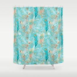 Feather peacock peach mint #8 Shower Curtain