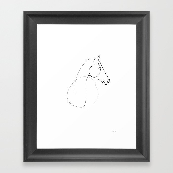 One line Horse 0110 Framed Art Print by quibe | Society6