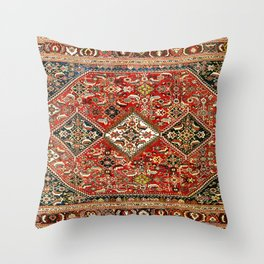Qashqa'i  Antique Fars Persian Tribal Rug Throw Pillow