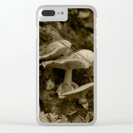 Tyrolean forest mushrooms, sepia photograph 2013 Clear iPhone Case