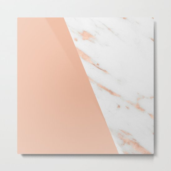 Marble Geometric Rose Gold Pink Quartz Metal Print