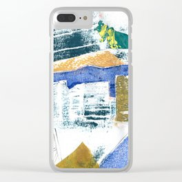 Abstract Building Blue Clear iPhone Case