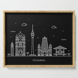 Colombo Minimal Nightscape / Skyline Drawing Serving Tray