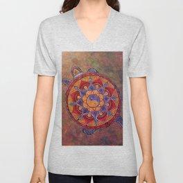 Autumn Turtle - yin yang mandala Unisex V-Neck