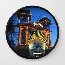 Luna Park at Night Fall Wall Clock