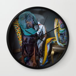 Doberman in Bird Cage Modeling with Nude Painted Mannequins Artistic and Colorful Wall Clock
