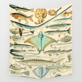 Vintage Fish Diagram // Poissons II by Adolphe Millot XL 19th Century Science Textbook Artwork Wall Tapestry