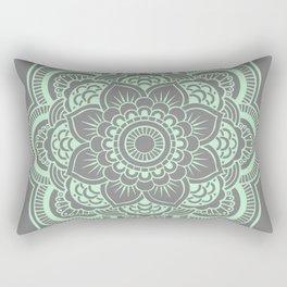 Mandala Flower Gray & Mint Rectangular Pillow
