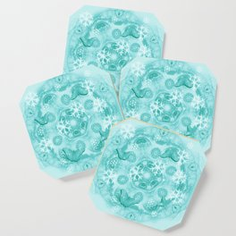 Butterflies and snow in blue Coaster