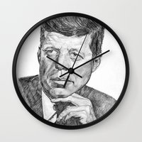 jfk Wall Clocks featuring JFK by Monifa Charles