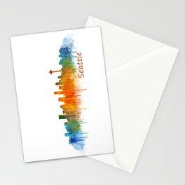 Seattle Washington City Watercolor Skyline Hq v2 Stationery Cards