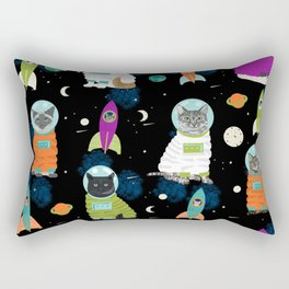 Space Cats pet portraits cute cat gifts cat lady outer space cadet rockets Rectangular Pillow
