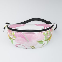 Pink Flamingos & flowers Love typography Fanny Pack