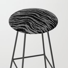 Black and Gray Zebra Print Bar Stool