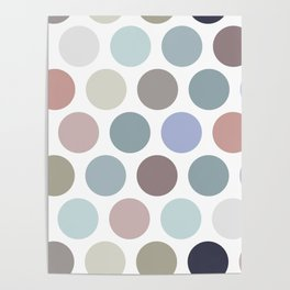 Polka dot pattern. Pastel color dot on white background Poster