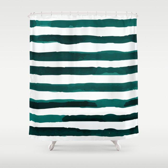 Watercolor Stripes (Emerald Green) Shower Curtain by valicenavidad ...