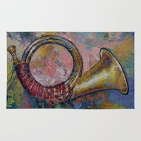 hunting Area & Throw Rugs featuring Hunting Horn by Michael Creese