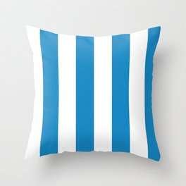 Sea Breeze Large Blue and White Vertical Stripes Throw Pillow