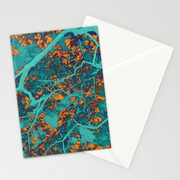 Colourful green and orange trees Stationery Cards